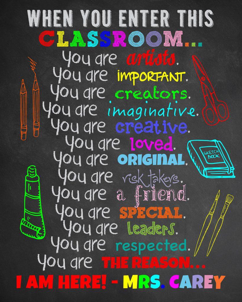 Art Classroom Decor Gift For Teacher Classroom Sign Teacher Appreciation Theme Team Design